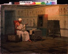 Egyptian Priest Reading a Papyrus Roll