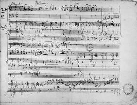 Ms.222 fol.6 Trio, in E flat major ''Kegelstatt'' for piano, clarinet, violin and viola (K 498) 1786