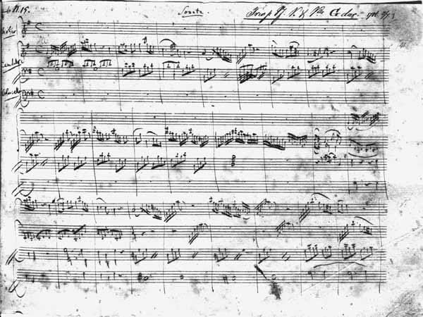 Trio in G major for violin, harpsichord and violoncello (K 496) 1786 (1st page)